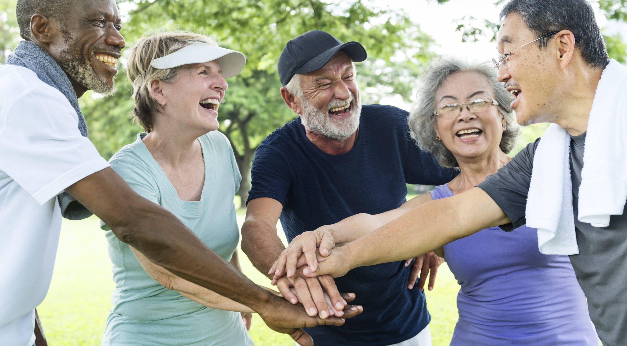 Older people exercising together